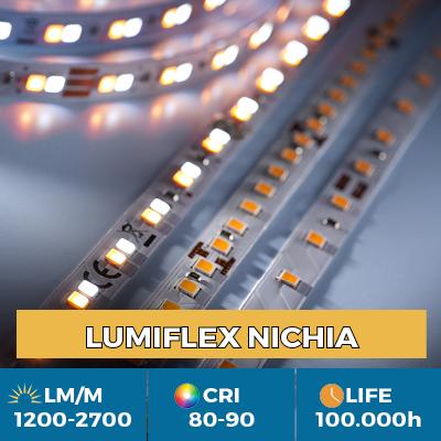 Fitas de LED Nichia Profissional, até 2700 lm / m, 5 anos de garantiaFitas de LED Nichia Profissional, até 2700 lm / m, 5 anos de garantia